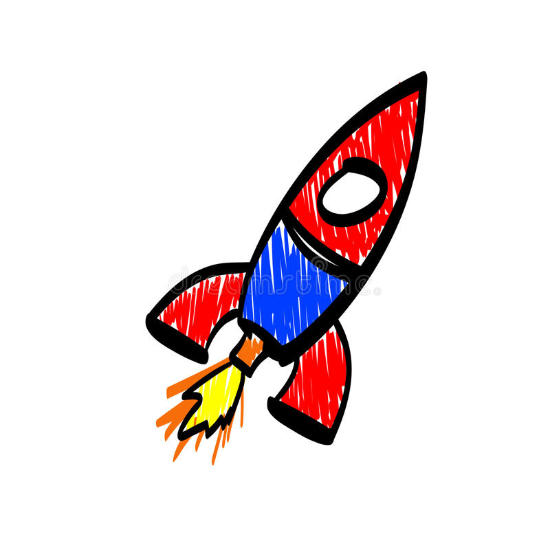 在一未来派interf显示的手拉的五颜六色的火箭象 皇族释放例证