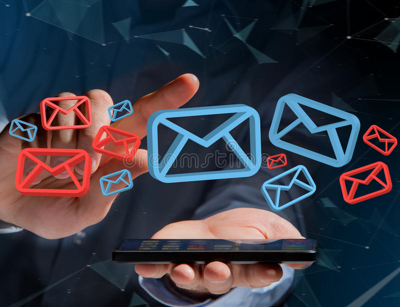 在一未来派interf显示的批准的电子邮件和垃圾短信消息 免版税库存照片