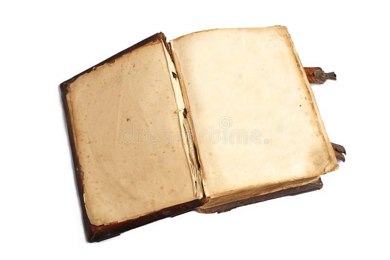 在一本旧书的两空的页 免版税库存图片