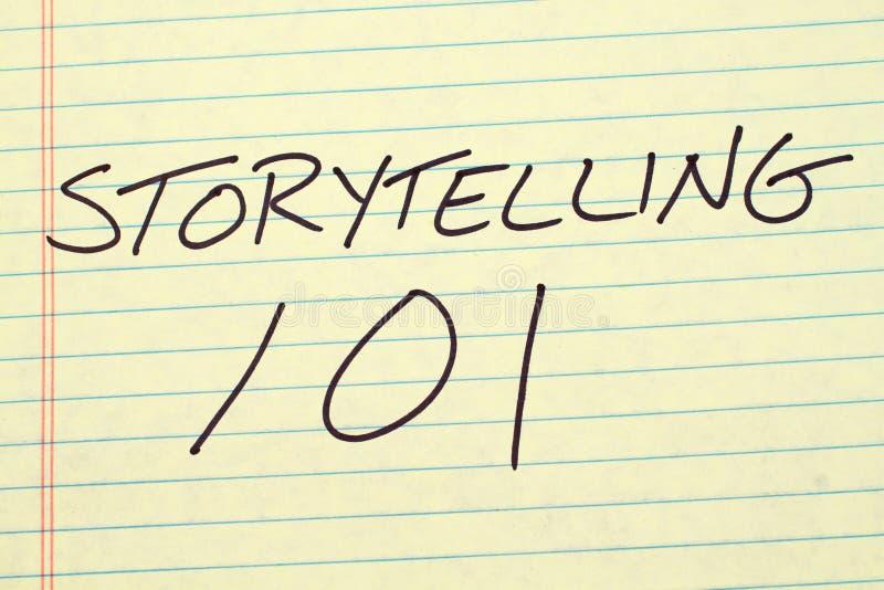 在一本黄色便笺簿的讲故事101 库存照片