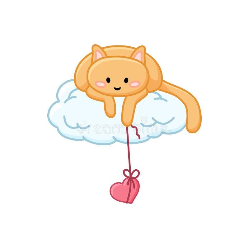 在一朵云彩的情人节逗人喜爱的猫与在串动画片图象的心脏 向量例证