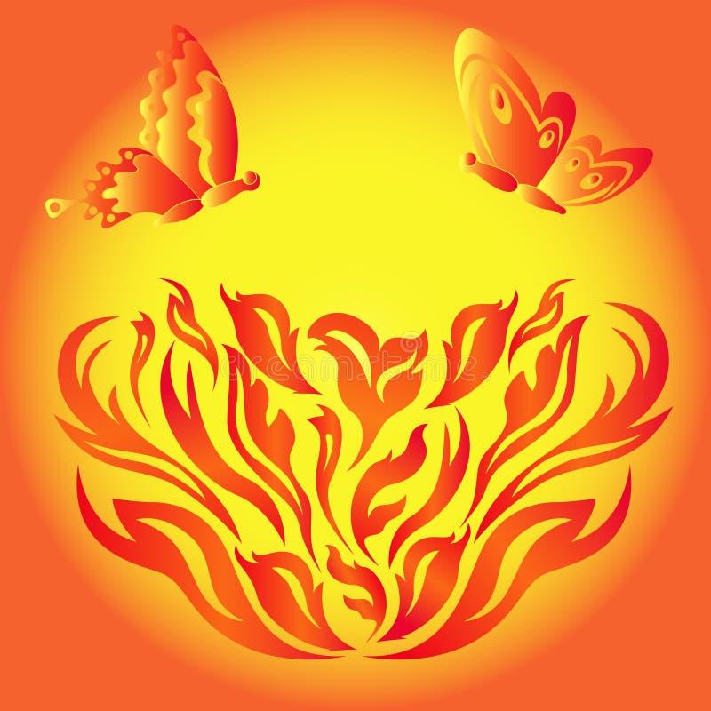 在一朵火热的花的蝴蝶 库存例证