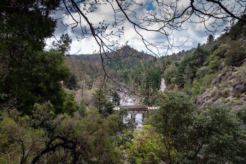 在一条小河的小山桥梁从佩内达Geres国立公园,在葡萄牙北部 免版税库存图片