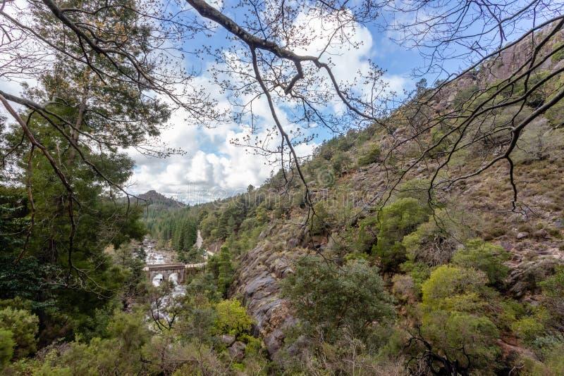 在一条小河的小山桥梁从佩内达Geres国立公园,在葡萄牙北部 库存照片