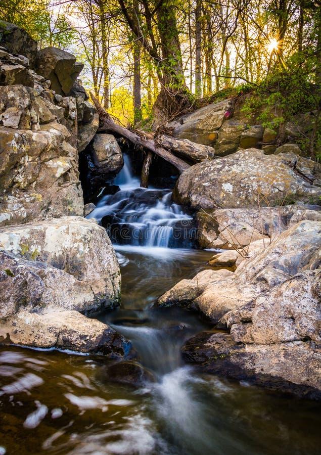 在一条小河的小瀑布在巨大秋天停放,弗吉尼亚 库存图片