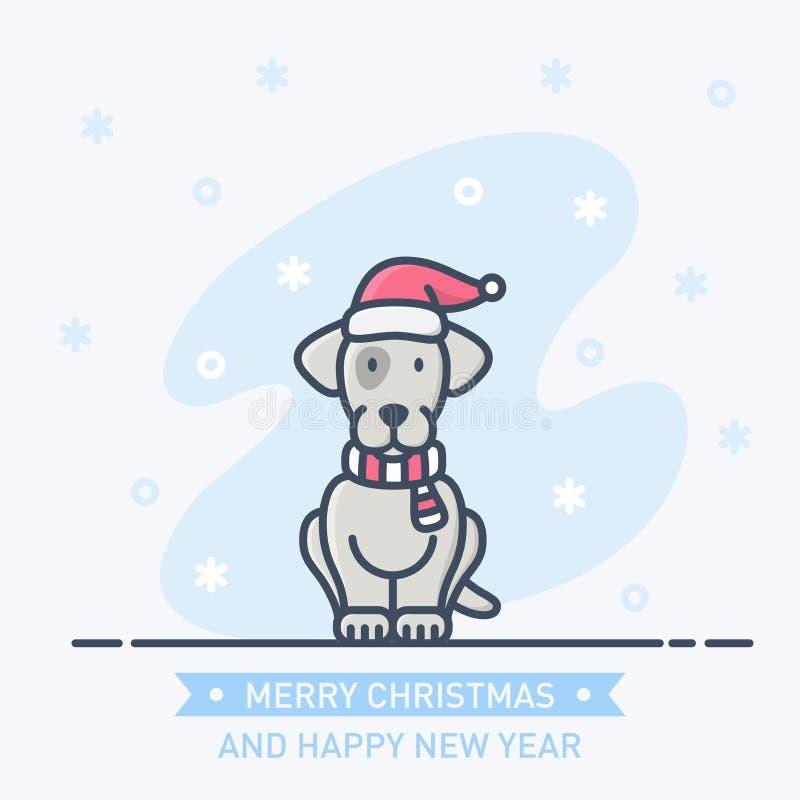 在一条新年帽子和围巾的基本的RGBAbstract小的逗人喜爱的小狗 皇族释放例证