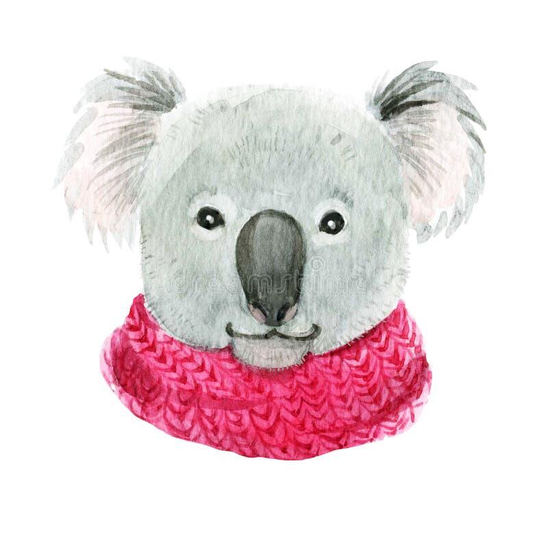 在一条桃红色围巾的考拉 向量例证