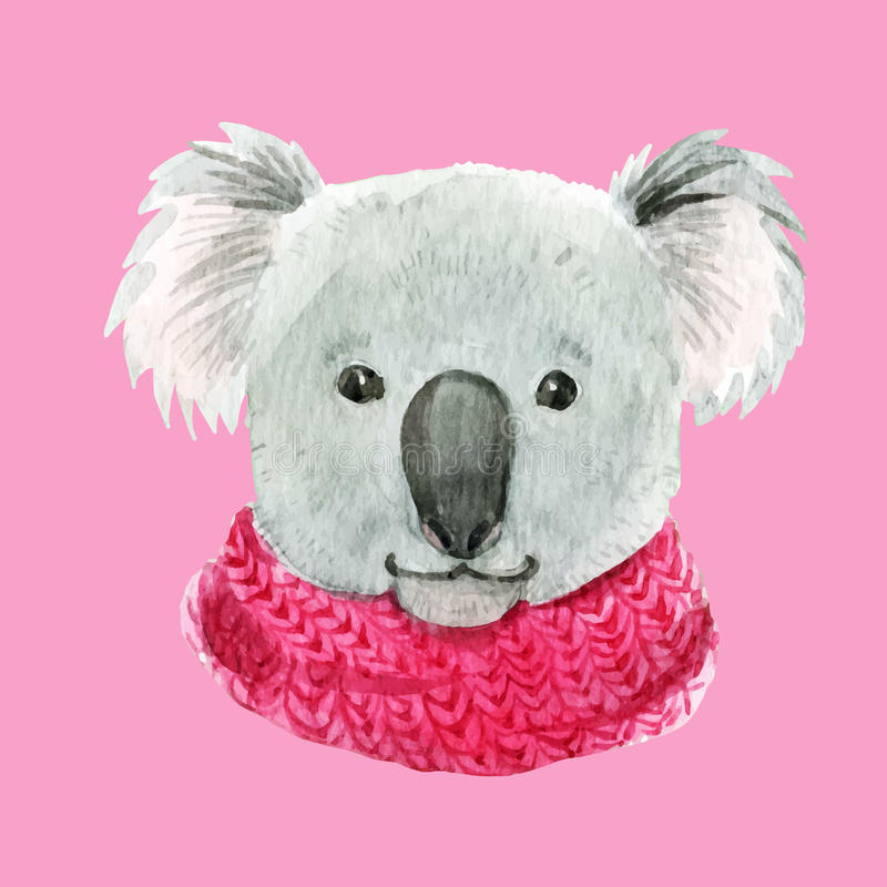 在一条桃红色围巾的考拉 库存例证