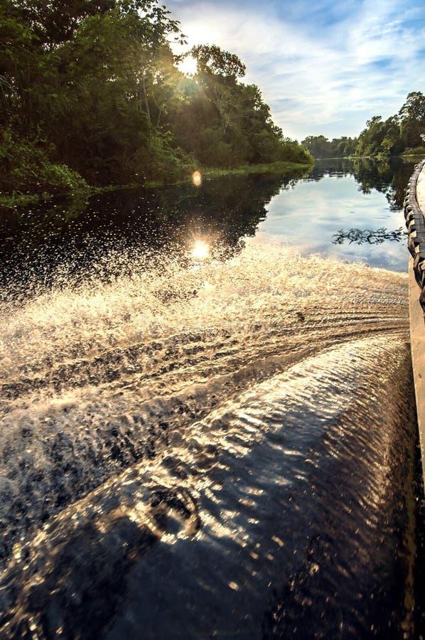 在一条河亚马逊雨林的,秘鲁,南美的小船 免版税库存图片