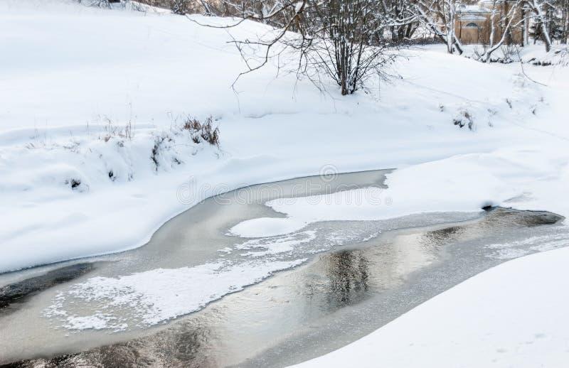 在一条河的开阔水域有雪和冰的 库存照片