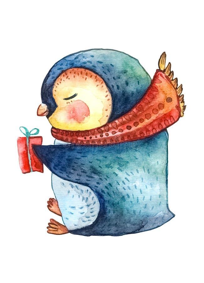 在一条红色围巾和一件礼物的动画片企鹅在他的手上 字符新年和新年设计 库存例证