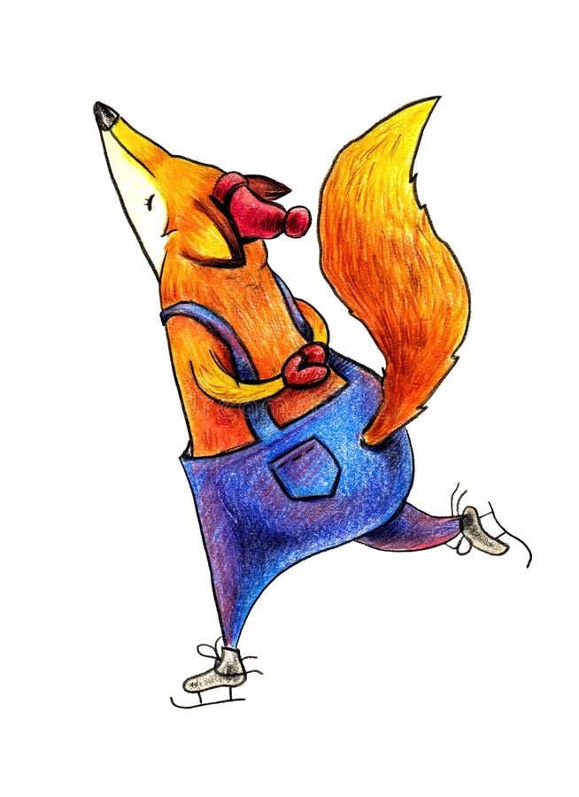 在一条红色帽子和蓝色裤子的Fox,滑冰 库存例证