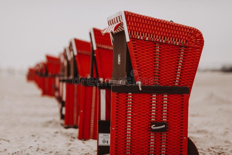 在一条线的海滩睡椅在德国海滩 库存图片
