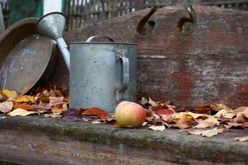 在一条老长凳的秋天 图库摄影