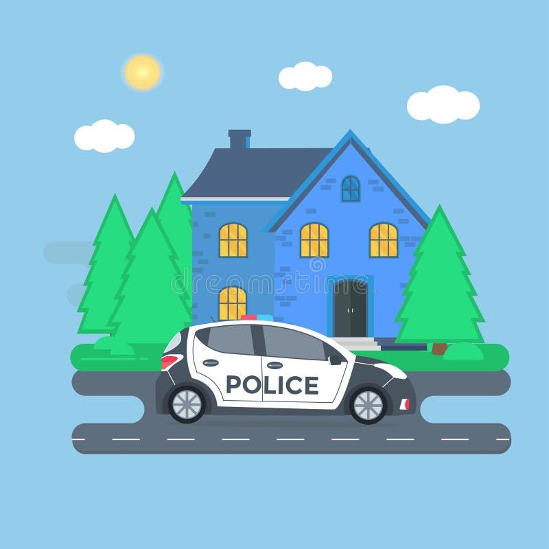 在一条路的警察巡逻有警车的,官员,房子,自然 向量例证