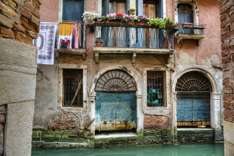阳台,运河,威尼斯,意大利 库存照片