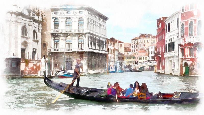 在一条运河的长平底船在威尼斯,意大利 威尼斯,意大利水彩风景  图库摄影