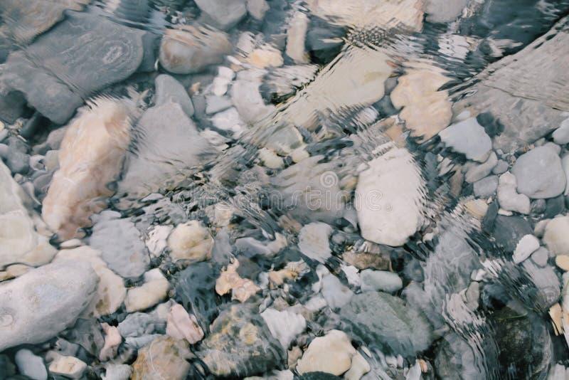 在一条透明河的底部的石头 免版税库存图片