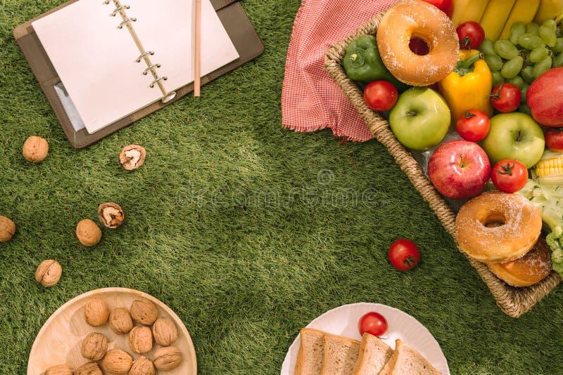 在一条野餐毯子的新鲜的健康热带水果在草用葡萄、苹果、葡萄柚、桔子和香蕉 库存照片