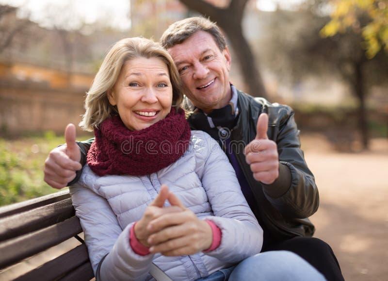 在一条长凳的愉快的年长夫妇在公园在秋天天 库存图片