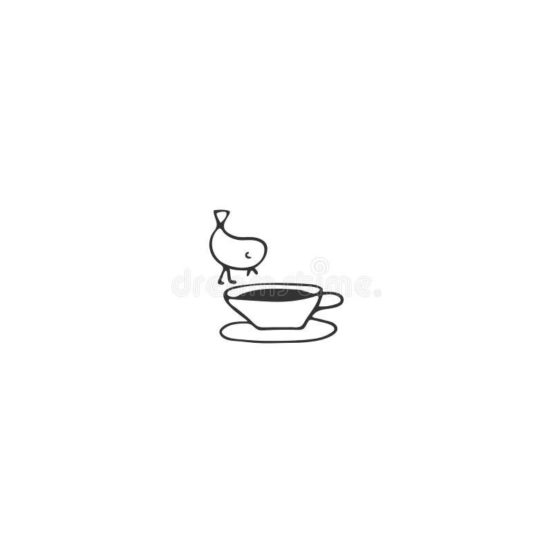 在一杯茶的鸟,厨房商标元素 传染媒介手拉的对象 向量例证