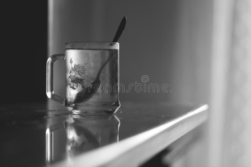 在一杯水的匙子 免版税库存图片
