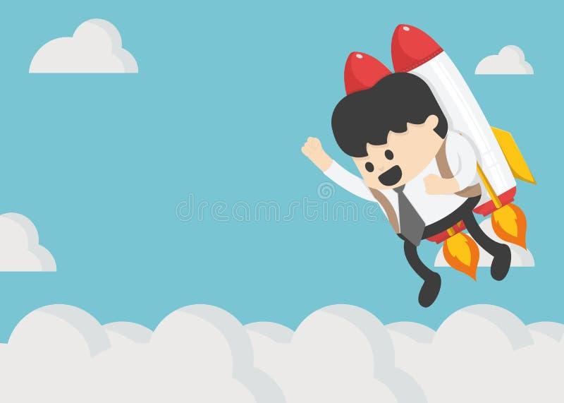 在一枚火箭的商人飞行在蓝天背景,以自由 库存例证