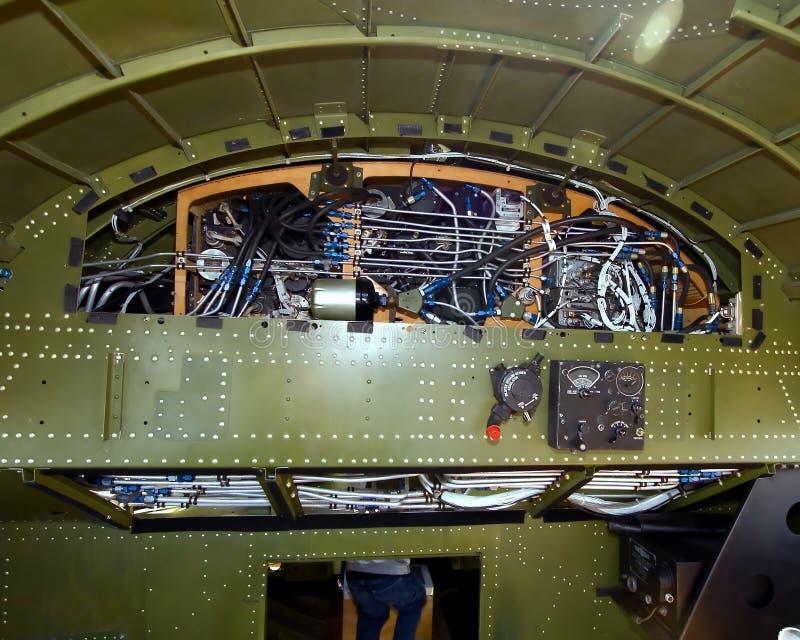 在一架B17G轰炸机的隔框midship从WWII 免版税图库摄影