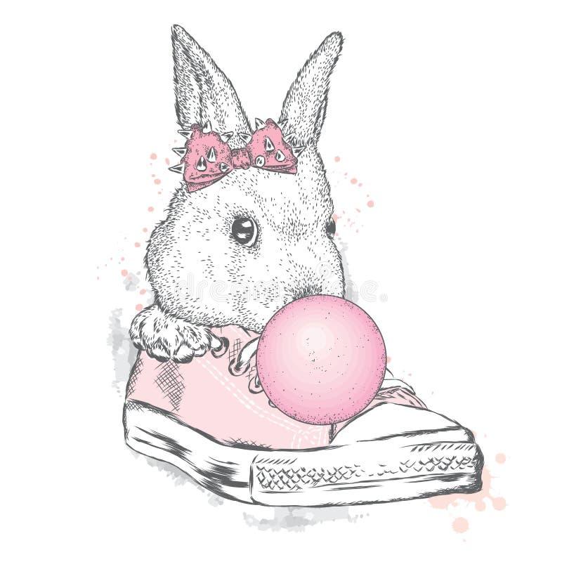在一棵雪松的一只美丽的兔子与弓吹胶泡影  皇族释放例证