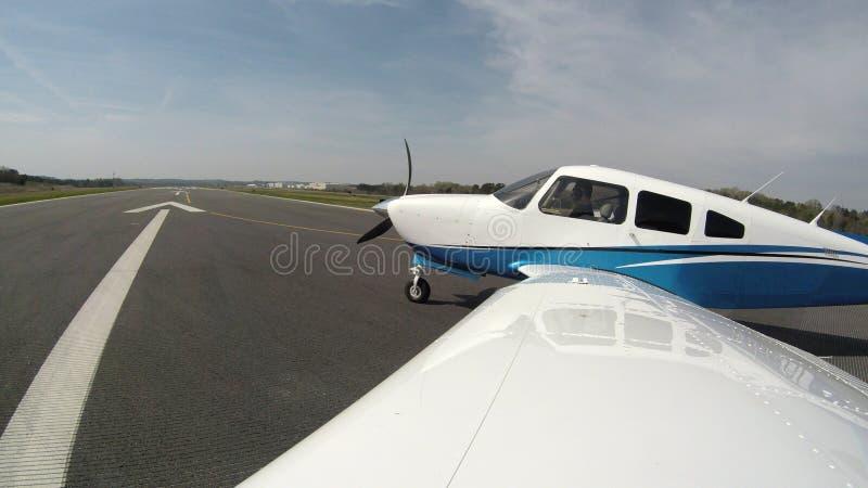 在一次正常飞行的一般航空飞机 库存图片