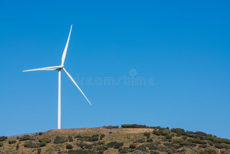 在一清楚的天空蔚蓝的风车在山脉在一个草甸旁边的del Merengue有母牛的在普拉森西亚 库存照片