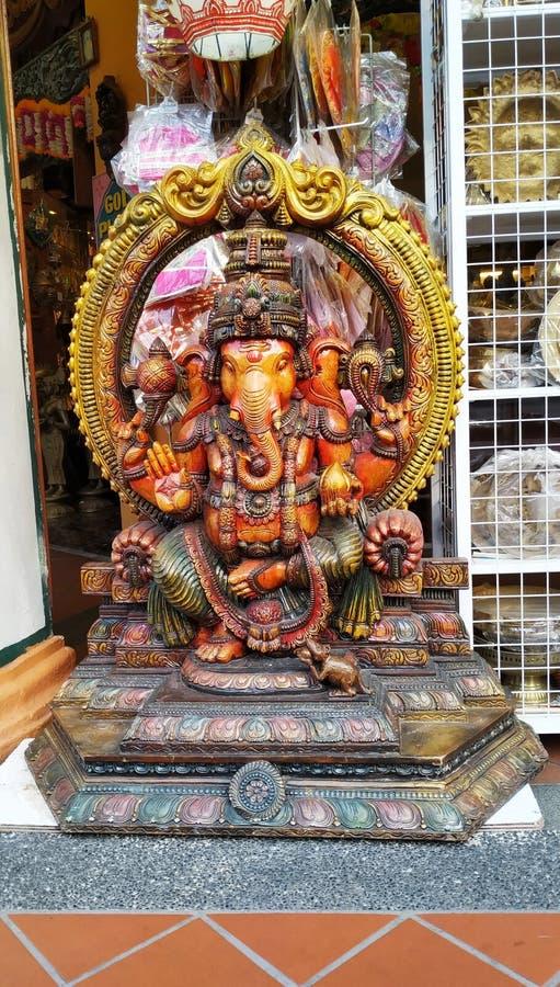 在一点印度街道上的Ganesha雕塑,新加坡 库存照片