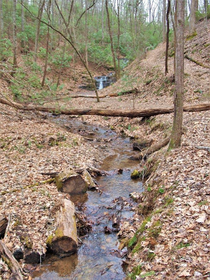 在一点山下的小河在神仙的石国家公园落 免版税库存图片