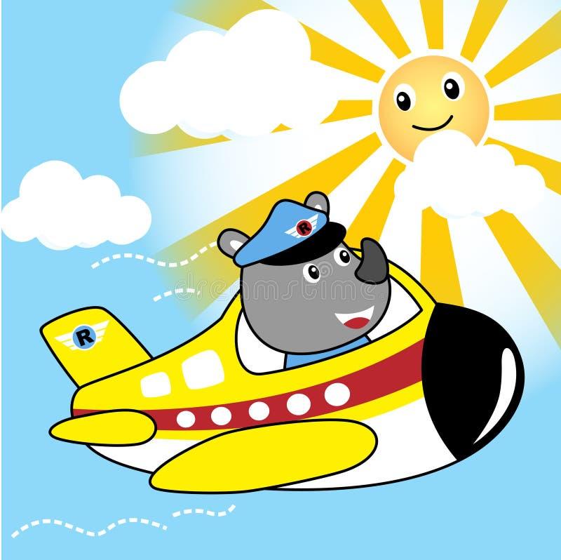 在一点飞机上的逗人喜爱的试验动画片 库存例证