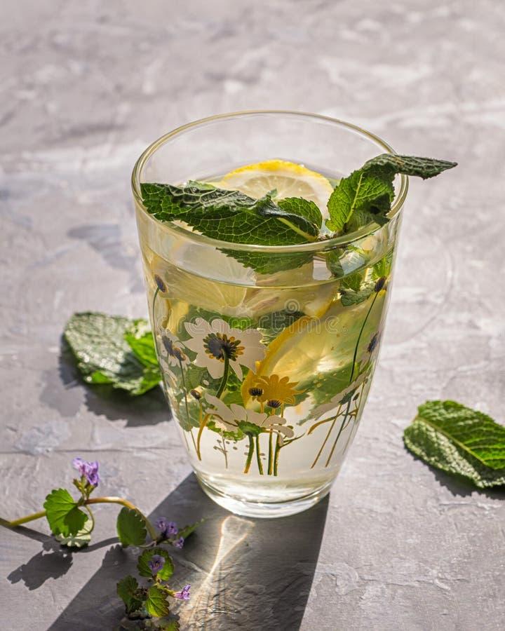 在一热的天止干渴用蜜蜂花和柠檬与玻璃样式与夏天样式的一个冷饮 从关闭的射击 免版税图库摄影