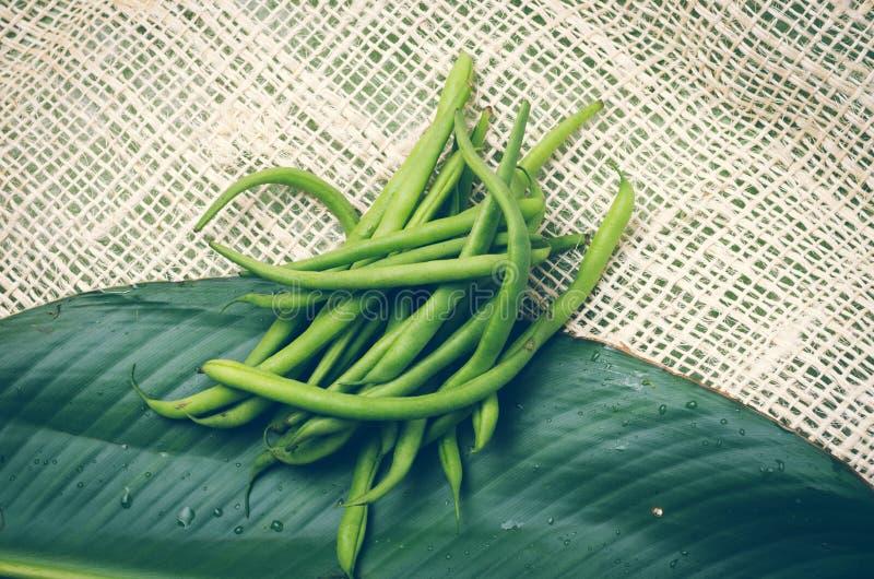 在一片大叶子安置的束新鲜的绿豆和 免版税图库摄影