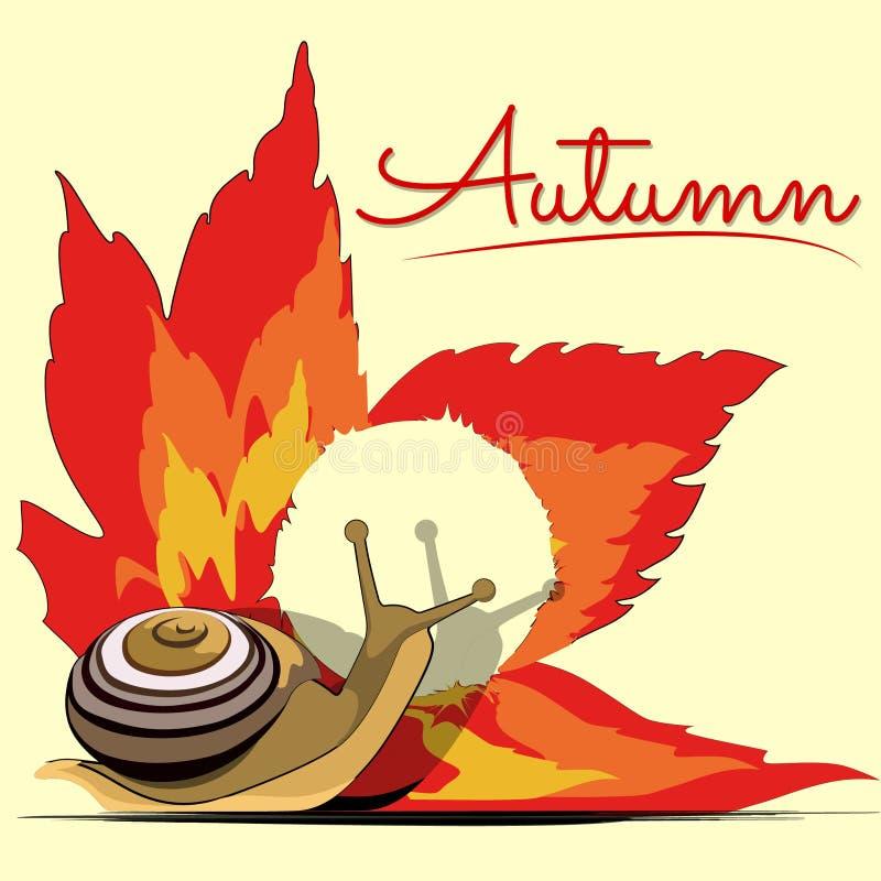 在一片明亮的秋天叶子附近的美丽的温暖的秋天蜗牛在秋天传染媒介图片动画片上写字的 皇族释放例证