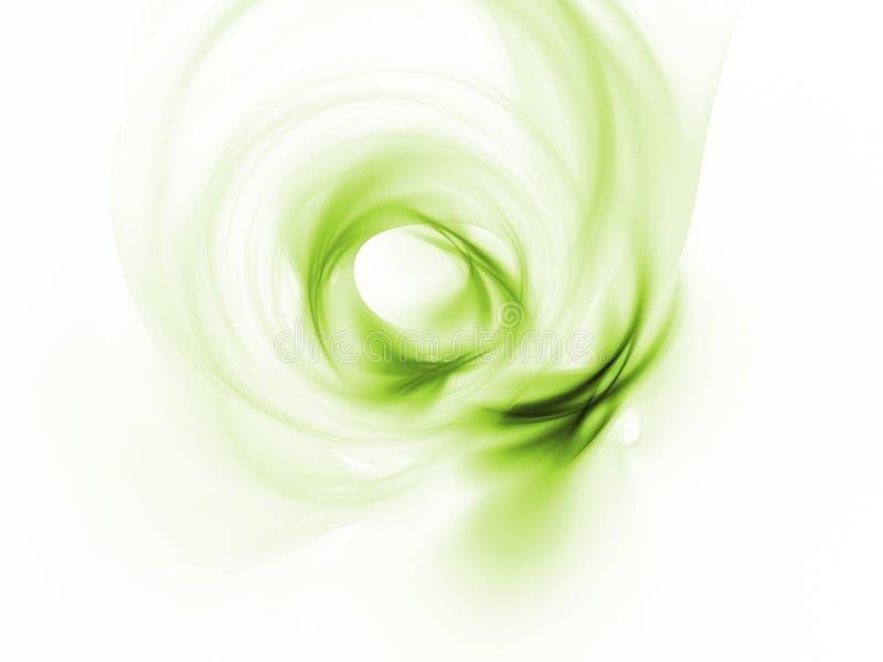 在一白色背景干净美丽的绿色漩涡 库存例证