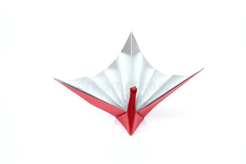 在一白色backgound的Origami起重机 库存照片