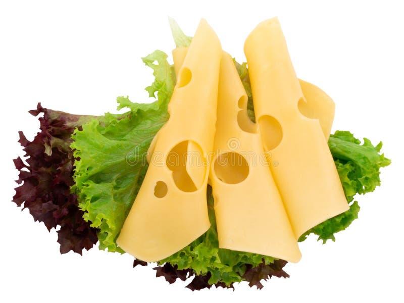 在一白色backgr和新鲜的绿色莴苣隔绝的乳酪切片 免版税库存图片