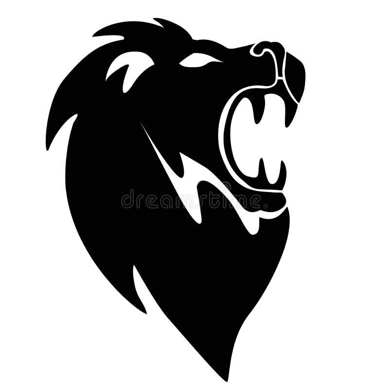 在一白色backgro隔绝的狮子坚硬的象剪影摘要 向量例证