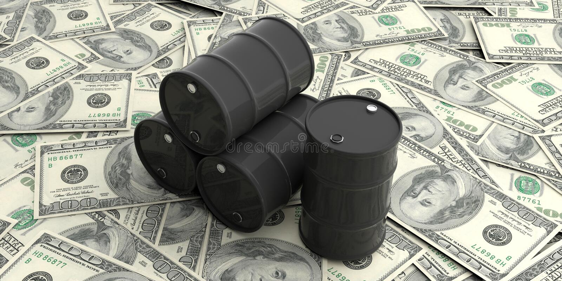在一百美元的油桶钞票 3d例证 皇族释放例证