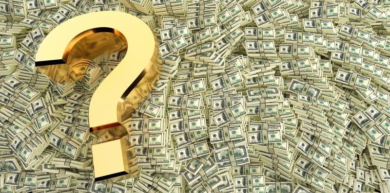 在一百美元钞票的问号 库存例证