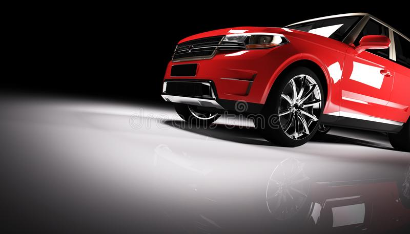 在一盏聚光灯的现代红色SUV汽车在黑背景 皇族释放例证