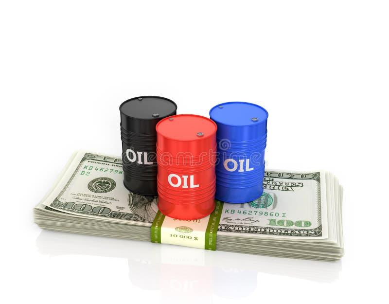 在一盒的三个油桶美元 库存例证