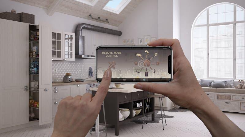 在一种数字式巧妙的电话片剂的遥远的家庭控制系统 有app象的设备 当代厨房内部 免版税库存图片