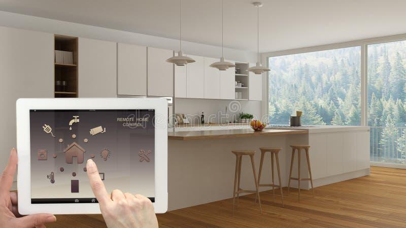 在一种数字式片剂的聪明的遥远的家庭控制系统 有app象的设备 最低纲领派白色和木厨房内部Th的 向量例证