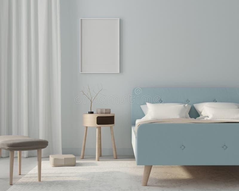 在一种浅兰的颜色的假装卧室内部与海报 3d?? 库存例证