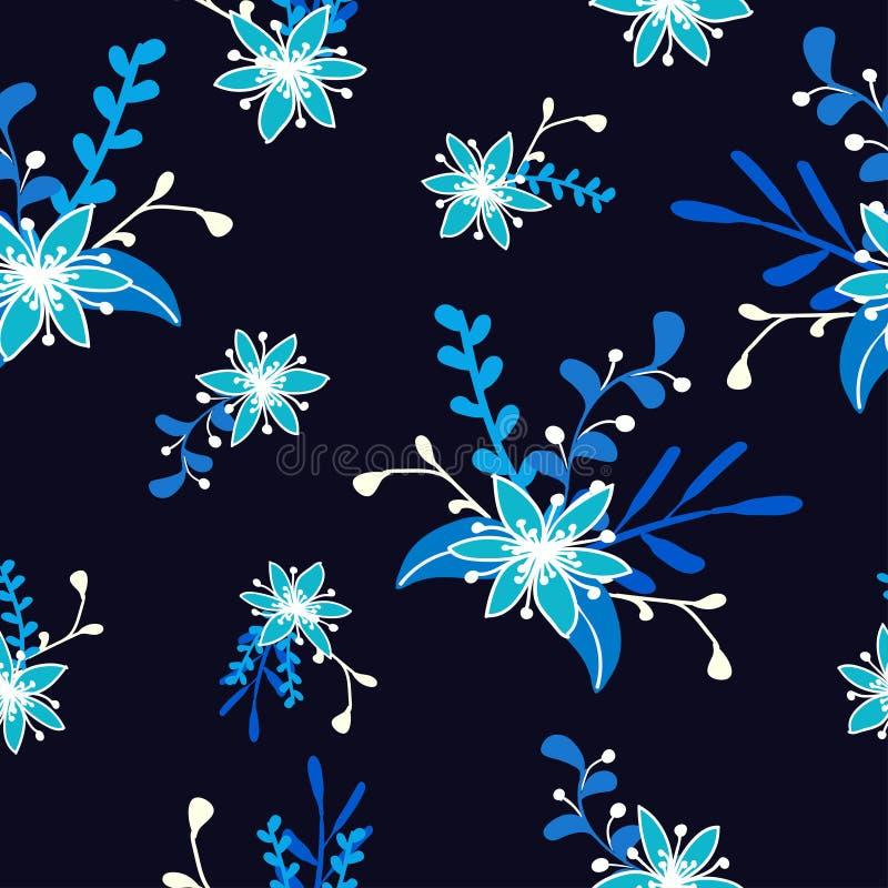在一种深蓝颜色的蓝色圣诞节花 皇族释放例证