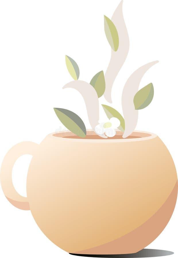 在一种精美桃子颜色的陶瓷杯子 饮料的蒸发的仿效以茶叶和花的形式 向量例证